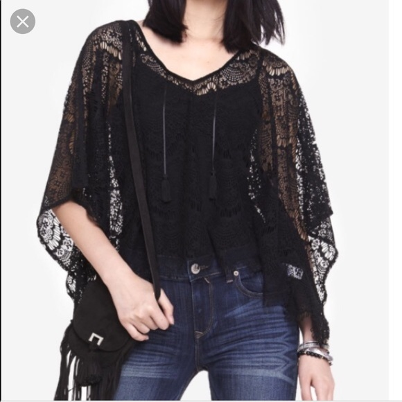 Express Jackets & Blazers - Black lace poncho